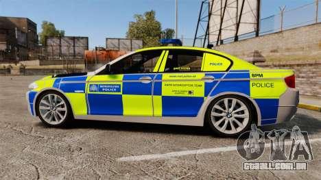 BMW 550i Metropolitan Police [ELS] para GTA 4 esquerda vista