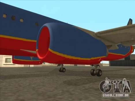 Boeing 737 Southwest Airlines para GTA San Andreas vista inferior