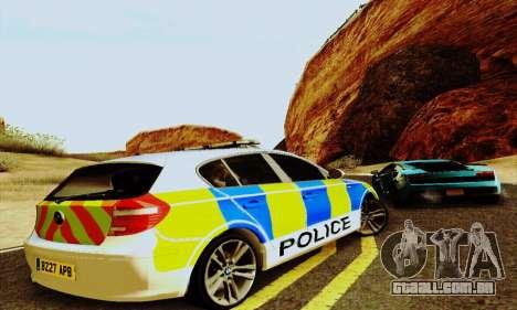 BMW 120i SE Police para GTA San Andreas vista traseira