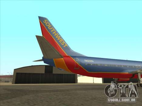 Boeing 737 Southwest Airlines para GTA San Andreas vista traseira