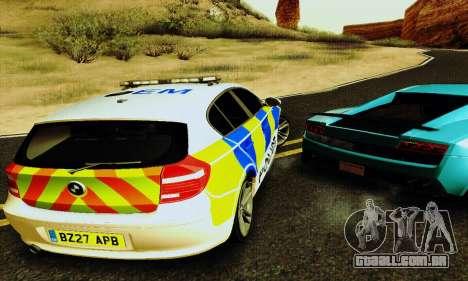 BMW 120i SE Police para GTA San Andreas vista interior