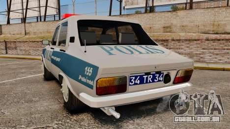 Renault 12 Turkish Police para GTA 4 traseira esquerda vista