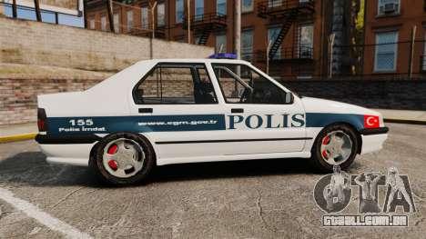 Renault 19 Turkish Police para GTA 4 esquerda vista