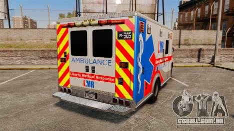 Brute Liberty Ambulance [ELS] para GTA 4 traseira esquerda vista