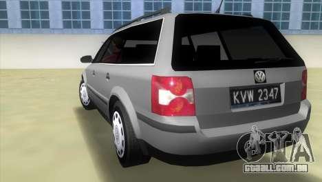 Volkswagen Passat B5+ Variant 1.9 TDi para GTA Vice City vista traseira esquerda