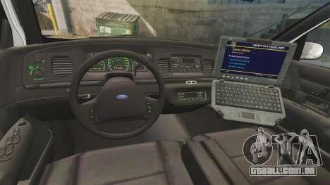 Ford Crown Victoria 1999 U.S. Border Patrol para GTA 4 vista de volta