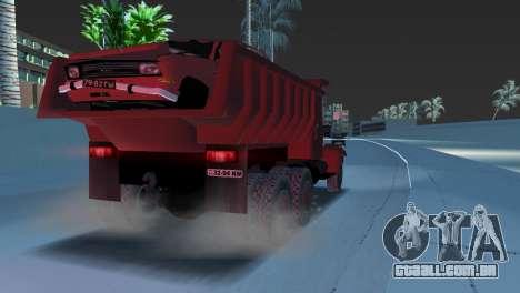 Caminhão de descarga KrAZ 255 para GTA Vice City vista direita