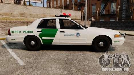 Ford Crown Victoria 1999 U.S. Border Patrol para GTA 4 esquerda vista