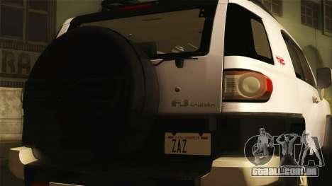 Toyota FJ Cruiser 2012 para GTA San Andreas traseira esquerda vista