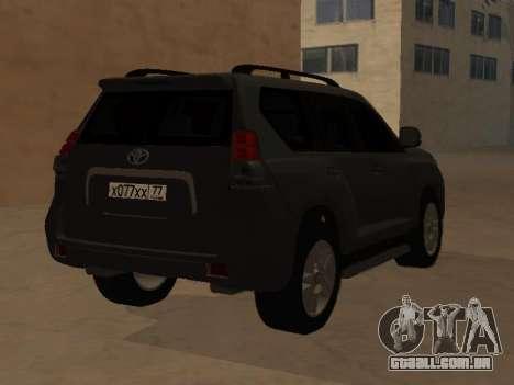Toyota Land Cruiser Prado 2012 para GTA San Andreas esquerda vista