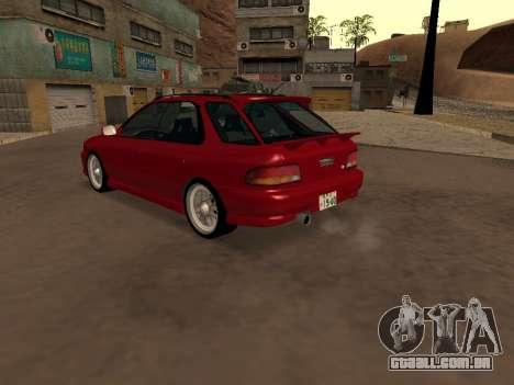 Subaru Impreza Wagon para GTA San Andreas traseira esquerda vista