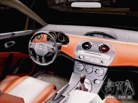 Mitsubishi Eclipse v4 para GTA San Andreas vista interior