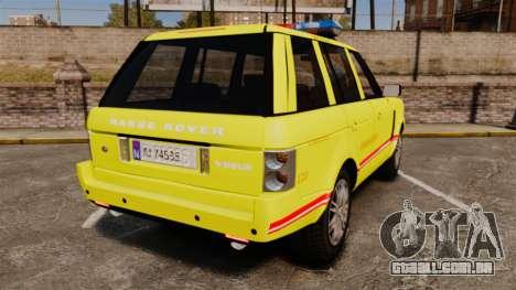 Range Rover Vogue Brannvesenet para GTA 4 traseira esquerda vista