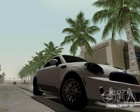 MINI Cooper S 2012 para GTA San Andreas traseira esquerda vista