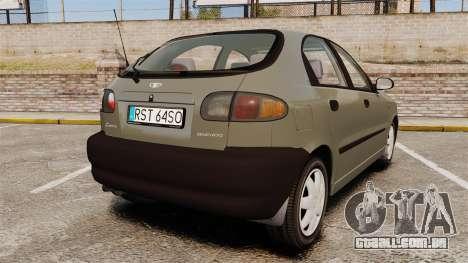 Daewoo Lanos S PL 2001 para GTA 4 traseira esquerda vista