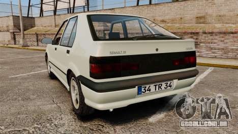 Renault 19 Europa para GTA 4 traseira esquerda vista