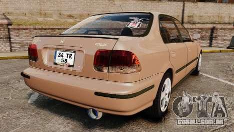 Honda Civic para GTA 4 traseira esquerda vista