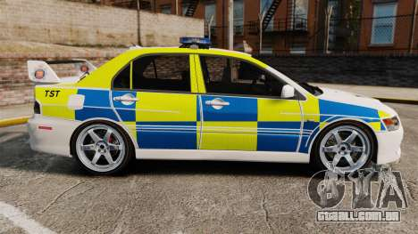 Mitsubishi Lancer Evolution IX Uk Police [ELS] para GTA 4 esquerda vista