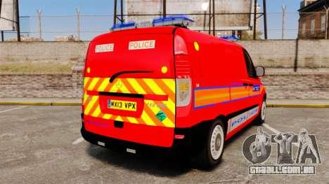 Mercedes-Benz Vito Metropolitan Police [ELS] para GTA 4 traseira esquerda vista