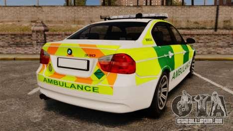 BMW 330i Ambulance [ELS] para GTA 4 traseira esquerda vista