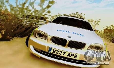 BMW 120i SE Police para GTA San Andreas esquerda vista