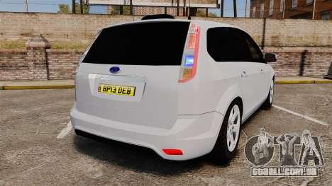 Ford Focus Estate 2009 Unmarked Police [ELS] para GTA 4 traseira esquerda vista