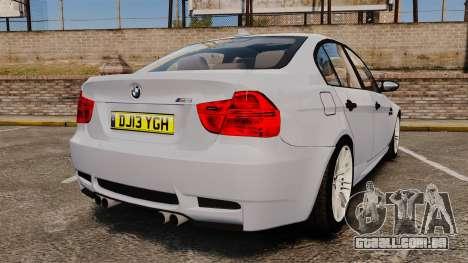 BMW M3 Unmarked Police [ELS] para GTA 4 traseira esquerda vista