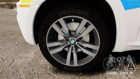 BMW X6 Lancashire Police [ELS] para GTA 4 vista de volta