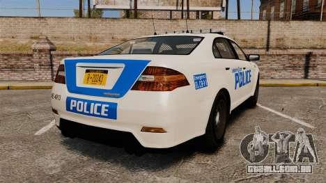 GTA V Vapid Police Interceptor LCPD [ELS] para GTA 4 traseira esquerda vista