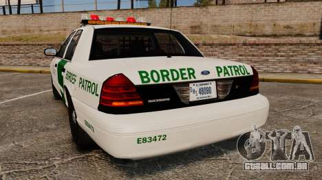 Ford Crown Victoria 1999 U.S. Border Patrol para GTA 4 traseira esquerda vista