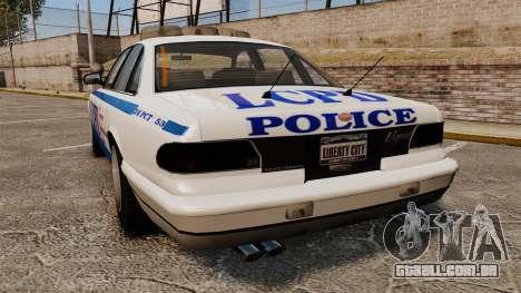 Vapid Police Cruiser v2.0 para GTA 4 traseira esquerda vista