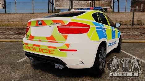 BMW X6 Lancashire Police [ELS] para GTA 4 traseira esquerda vista