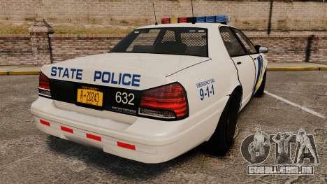 GTA V Vapid State Police Cruiser [ELS] para GTA 4 traseira esquerda vista
