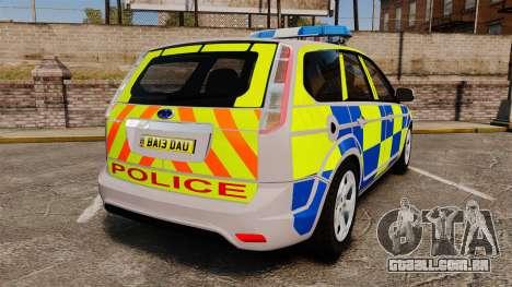 Ford Focus Estate 2009 Police England [ELS] para GTA 4 traseira esquerda vista