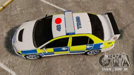 Mitsubishi Lancer Evolution IX Uk Police [ELS] para GTA 4 vista direita