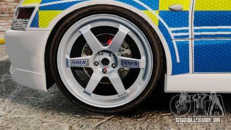 Mitsubishi Lancer Evolution IX Uk Police [ELS] para GTA 4 vista de volta