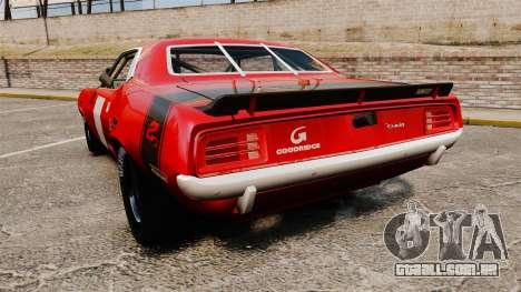 Plymouth Cuda AAR 1970 para GTA 4 traseira esquerda vista