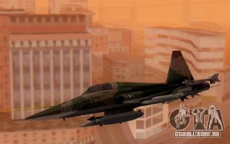 F-5 Tiger II para GTA San Andreas traseira esquerda vista