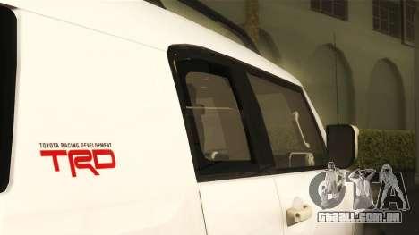 Toyota FJ Cruiser 2012 para GTA San Andreas vista direita