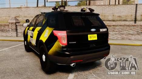 Ford Explorer 2013 Security Patrol [ELS] para GTA 4 traseira esquerda vista