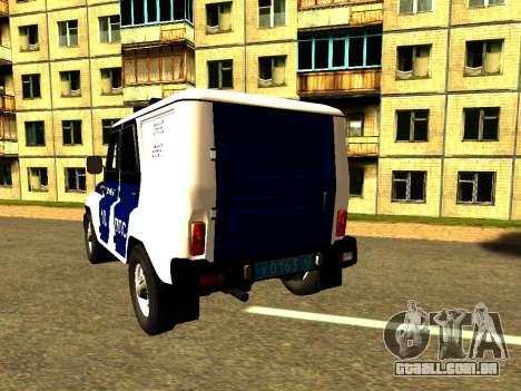 UAZ Hunter PPP para GTA San Andreas traseira esquerda vista