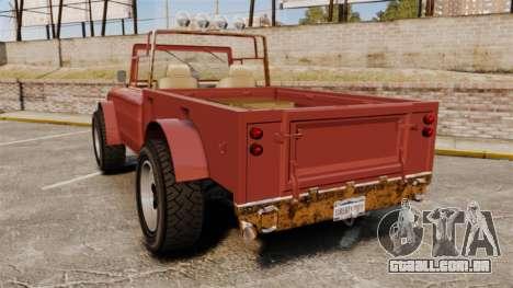 GTA V Canis Bodhi (Trevor Car) para GTA 4 traseira esquerda vista
