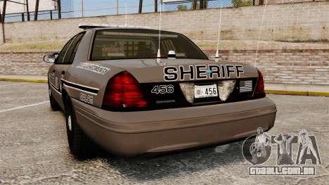 Ford Crown Victoria 2008 Sheriff Patrol [ELS] para GTA 4 traseira esquerda vista