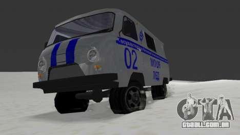 UAZ-3741 GIBDD para GTA Vice City vista traseira esquerda