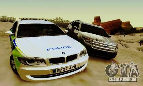 BMW 120i SE Police para GTA San Andreas vista direita