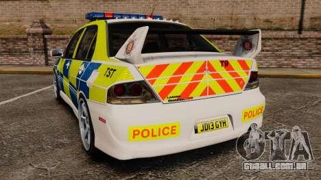 Mitsubishi Lancer Evolution IX Uk Police [ELS] para GTA 4 traseira esquerda vista