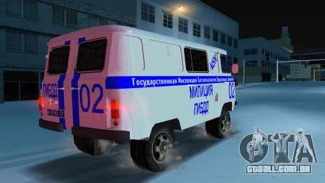 UAZ-3741 GIBDD para GTA Vice City deixou vista