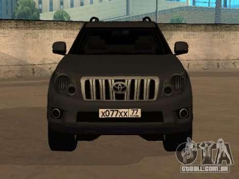 Toyota Land Cruiser Prado 2012 para GTA San Andreas traseira esquerda vista