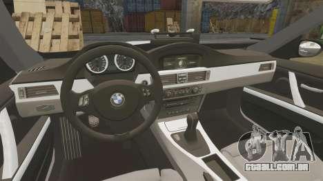 BMW M3 Unmarked Police [ELS] para GTA 4 vista interior