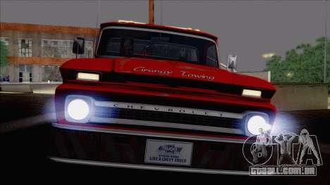 Chevrolet C20 Towtruck 1966 1.01 para GTA San Andreas vista traseira